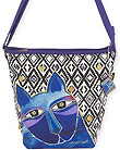 Blue Whiskered Cats Crossbody Bag