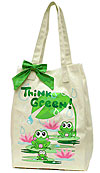 Canvas Market Bag with Frogs - Think Green!