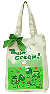Canvas Market Bag with Turtles - Think Green!